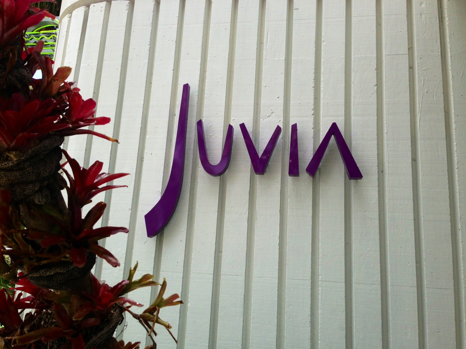 'Juvia' written in purple on an exterior white wall at Juvia restaurant
