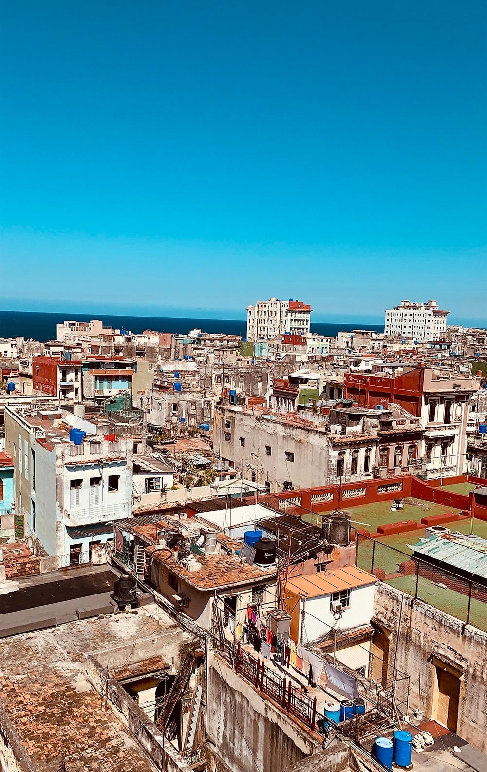 The rooftop vista of tall Havanan buildings