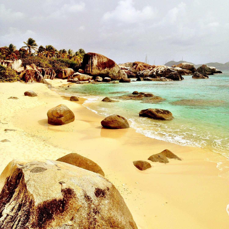 The rocky shore of Virgin Gorda