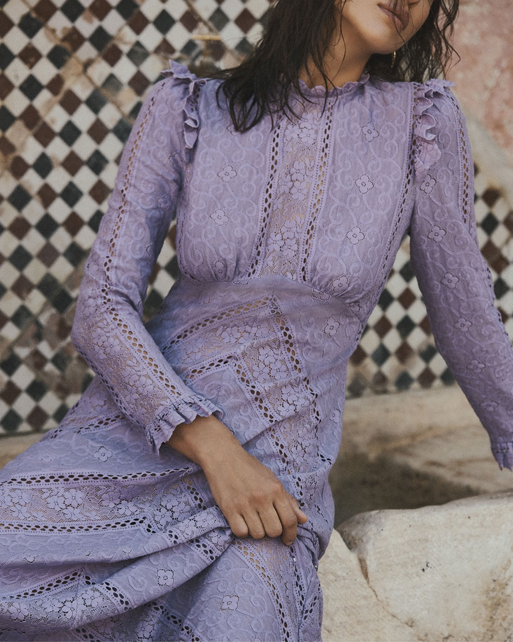 Irina wears the Brighton Panelled Lace Dress in Lilac