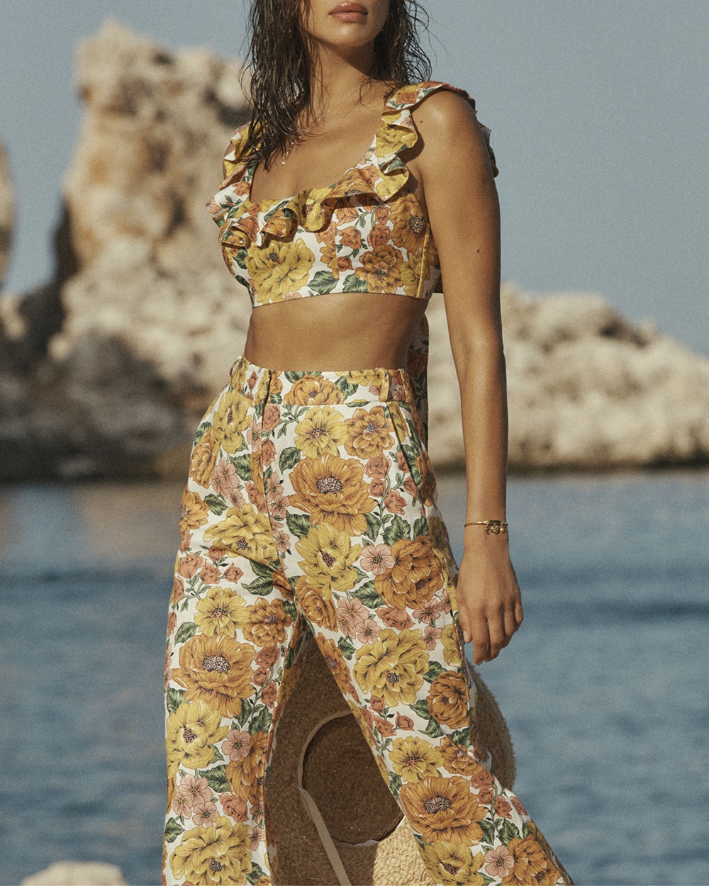 Irina in the Poppy Crop and Flare Pant in Golden Floral in Scopello