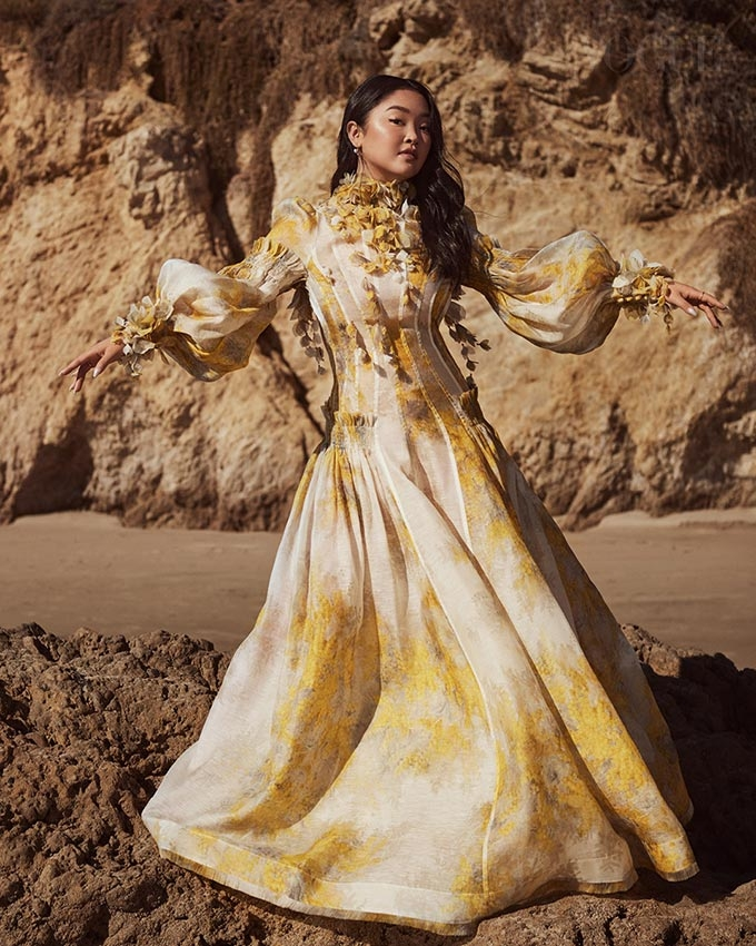 Lana Condor in the Botanica Wattle Gown for Vogue Singapore