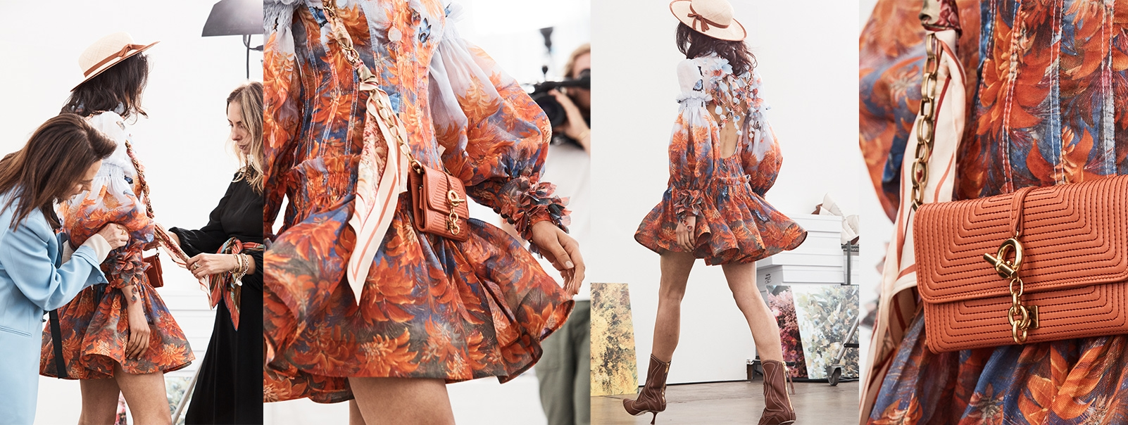 In the studio with the BOTANICA MINI DRESS IN FIRE FLOWER
