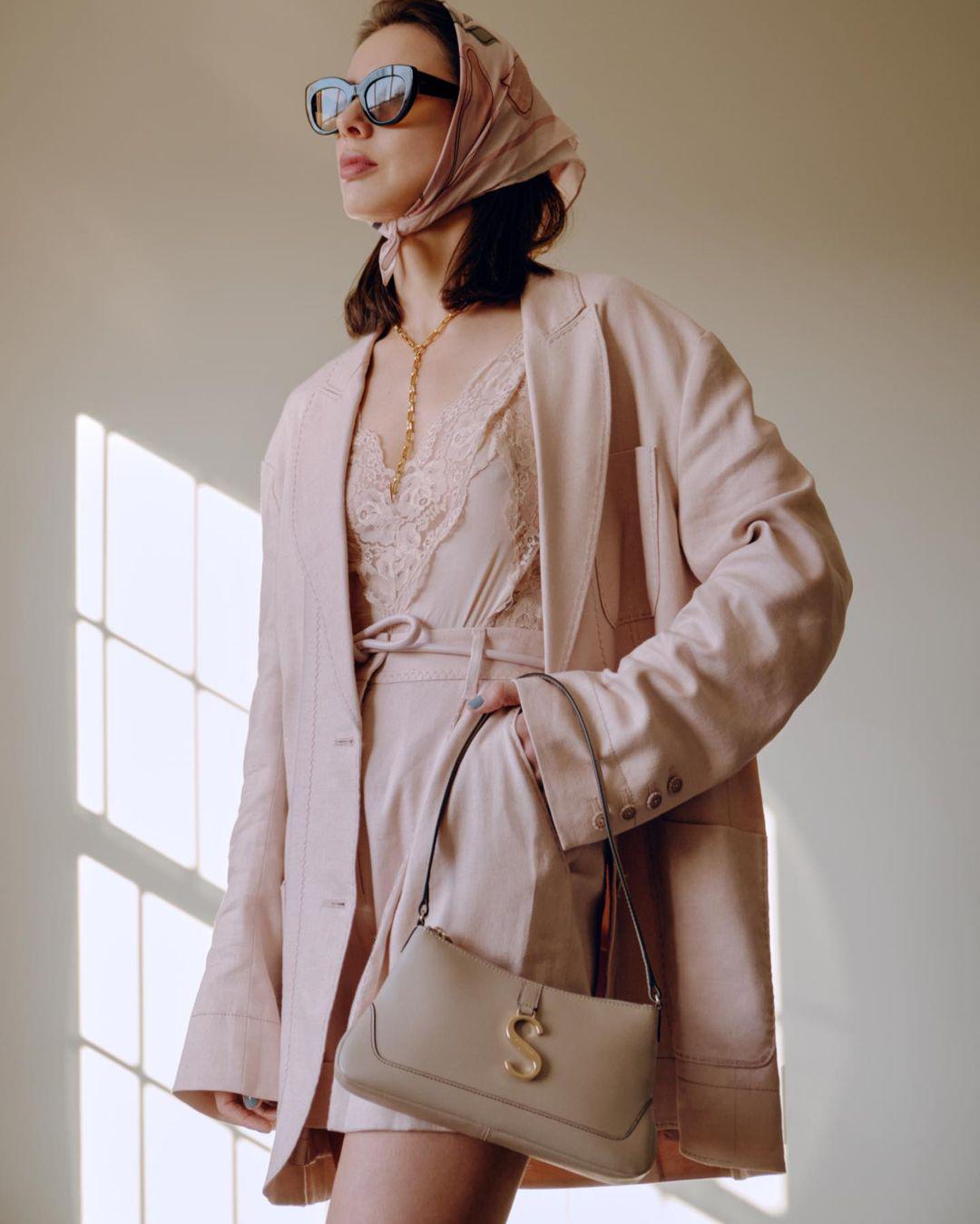 Marina Ingvarsson wears the Luminous Duster Jacket, Botanica Teddy and the Luminous Long Line Short