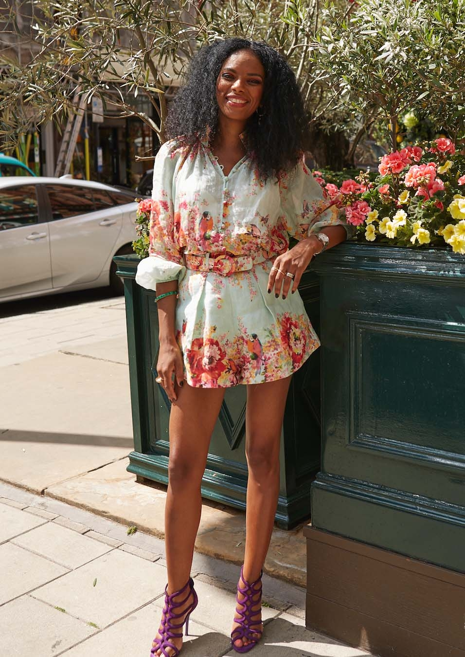 Noella Couraris Musunka in the Mae Billow Blouse and Floral Tuck Short