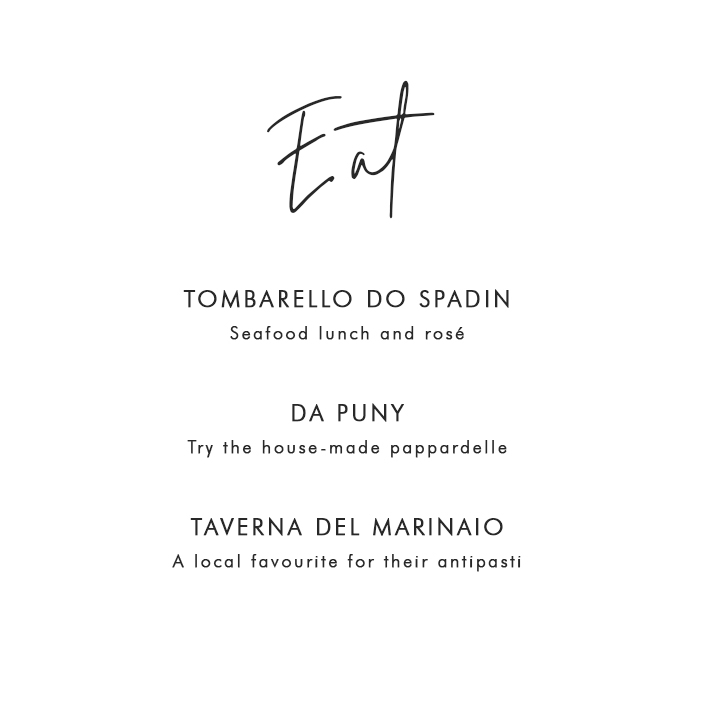 Where to Eat in Portofino: Tombarello Do Spadin – Seafood lunch and rosé; Da Puny – Try the house-made pappardelle; Taverna Del Marinaio – A local favourite for their antipasti