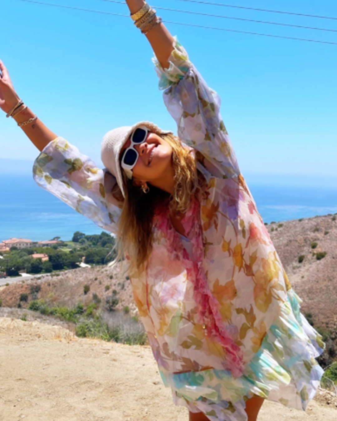 Rita Ora wears the Tempo Frilled Mini Dress