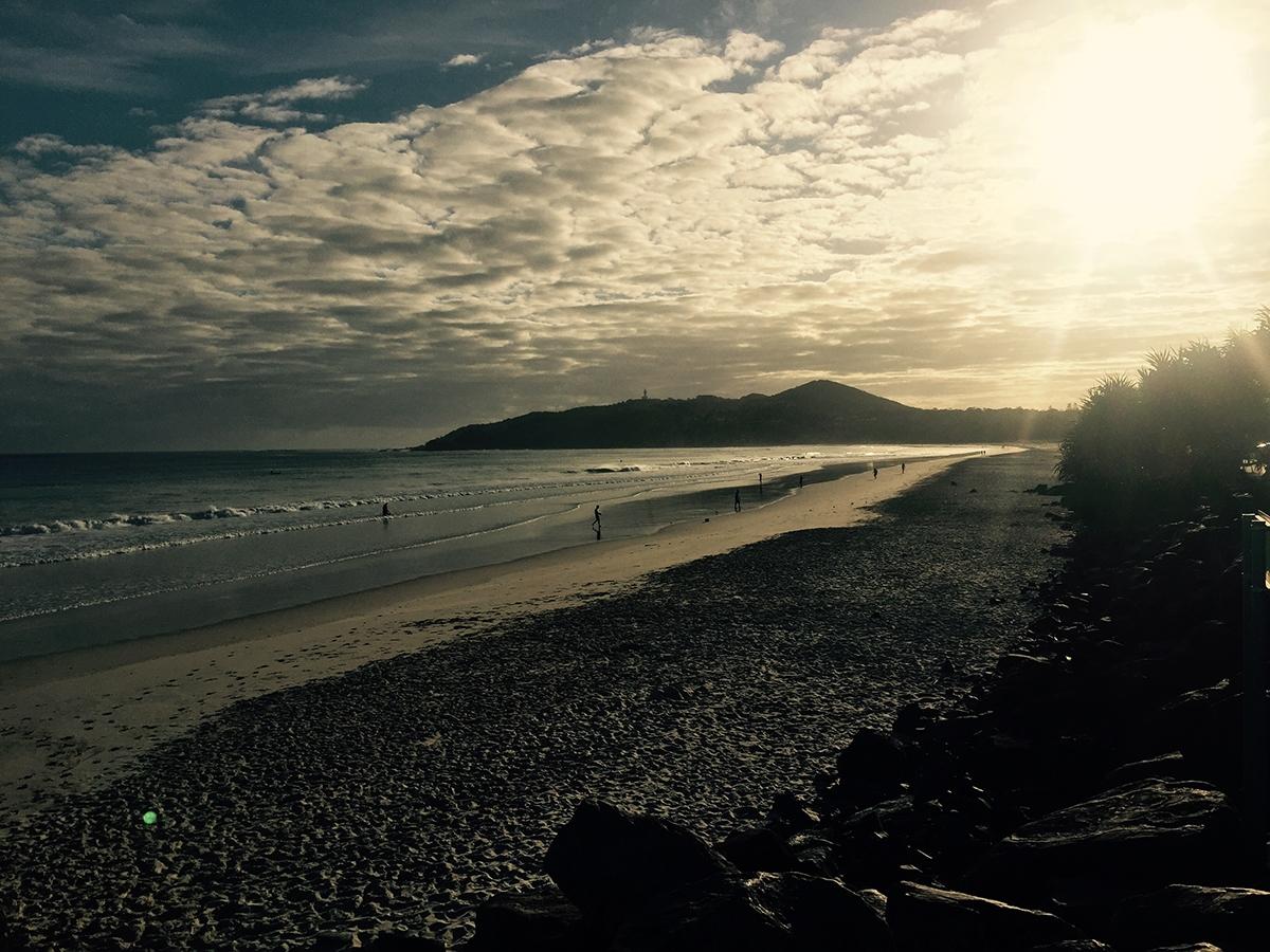 A cloudy sunrise at the beach