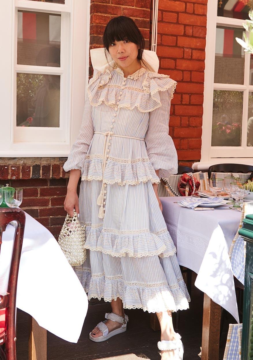 Susie Lau in the Aliane Lace Frill Midi Dress