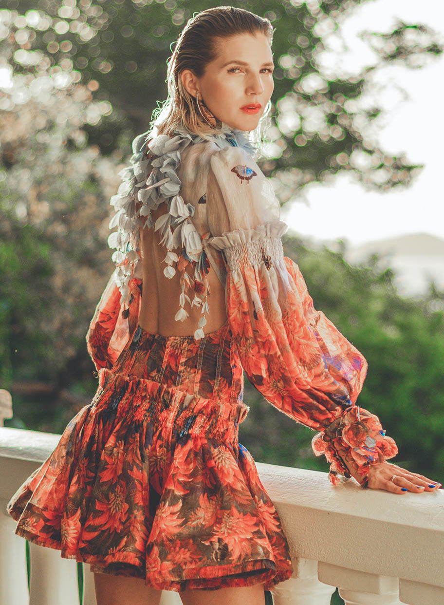 Samantha Angelilli wears the Botanica Mini Dress