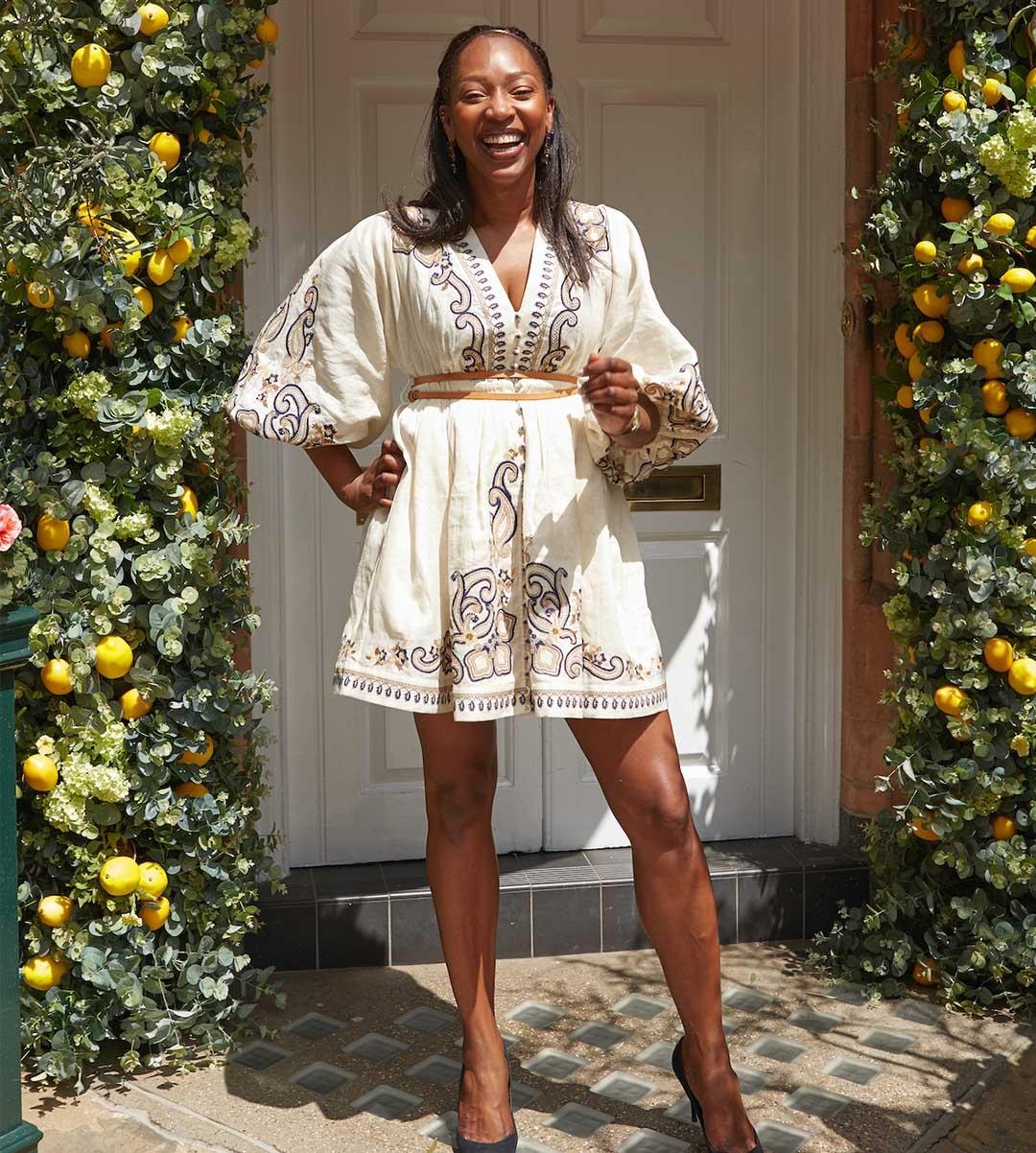 Vanessa Kingori in the Aliane Paisley Short Dress