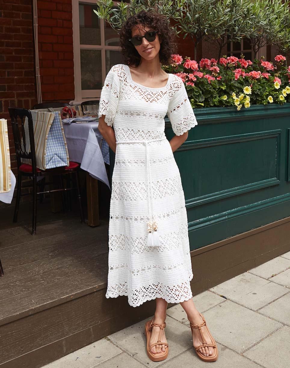 Yasmin Sewell in the Cassia Crochet Dress