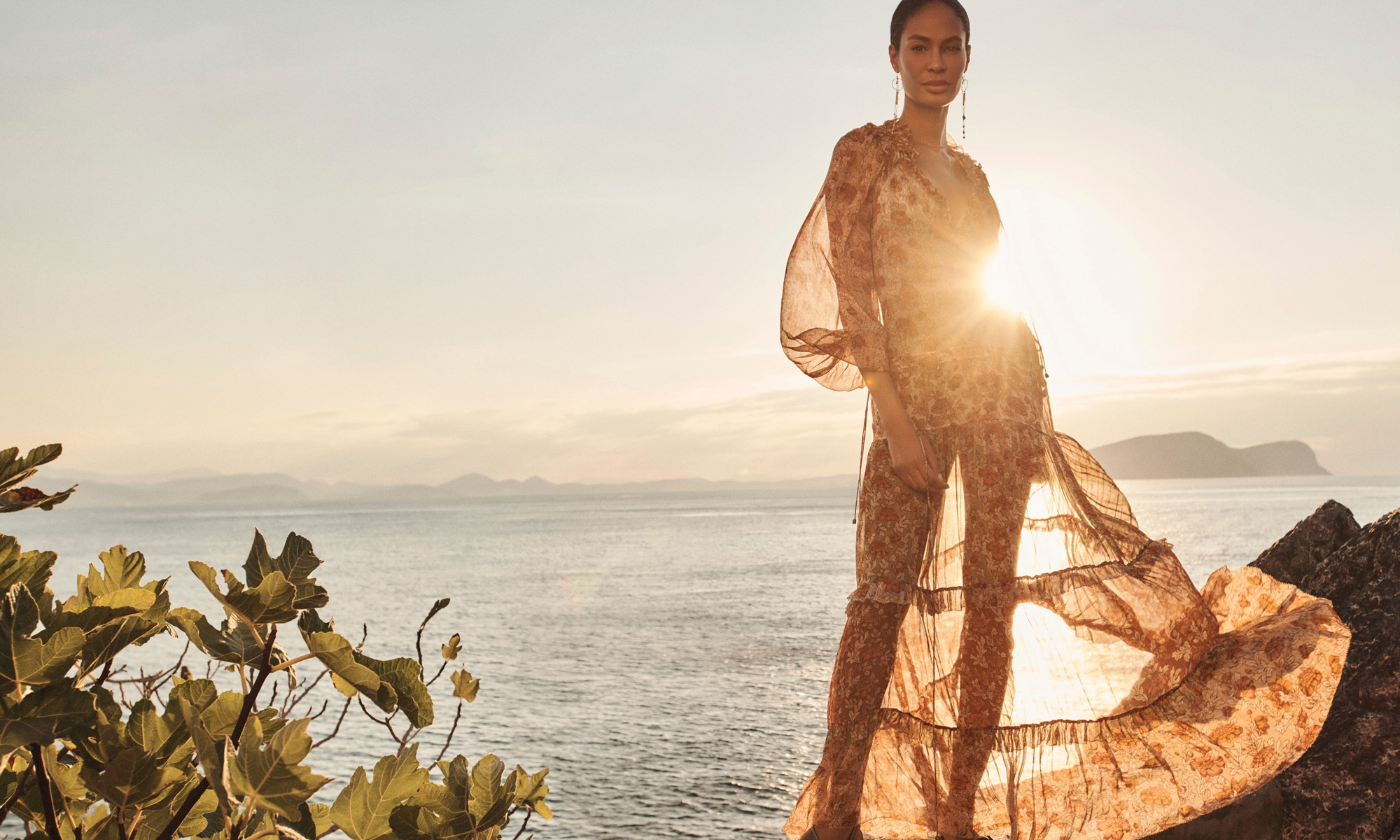 Andie Crochet Bikini, Spliced, Andie Tiered Long Dress, Spliced , Multi Pearl Long Earrings, Gold , Double Chain Long Necklace, Gold, Sling Back Flat Sandal, Olive