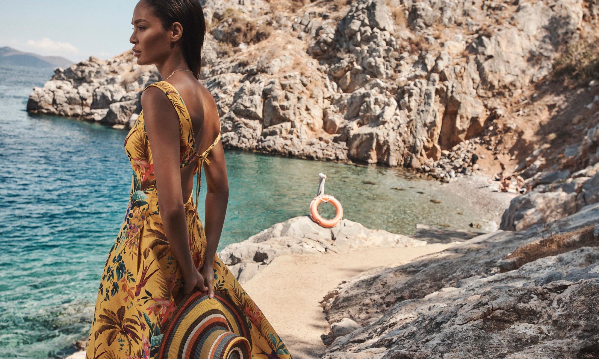 Tropicana Cut Out Midi Dress, Mango Floral, Double Chain Long Necklace, Gold, Stripe Sunhat, Multi