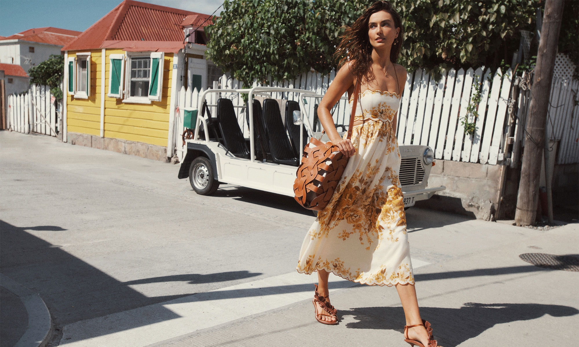 Aliane Scallop Midi Dress, Amber Floral , Bell & Dragonfly Hoop Earrings, T-Bar Necklace, Gold, Skinny Strap Ruffle Heel, Cognac, Leather Link Tote, Tan