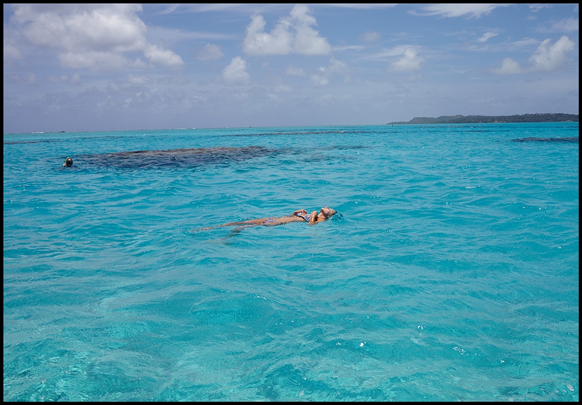 Our model floating alone in the expansive blue waters