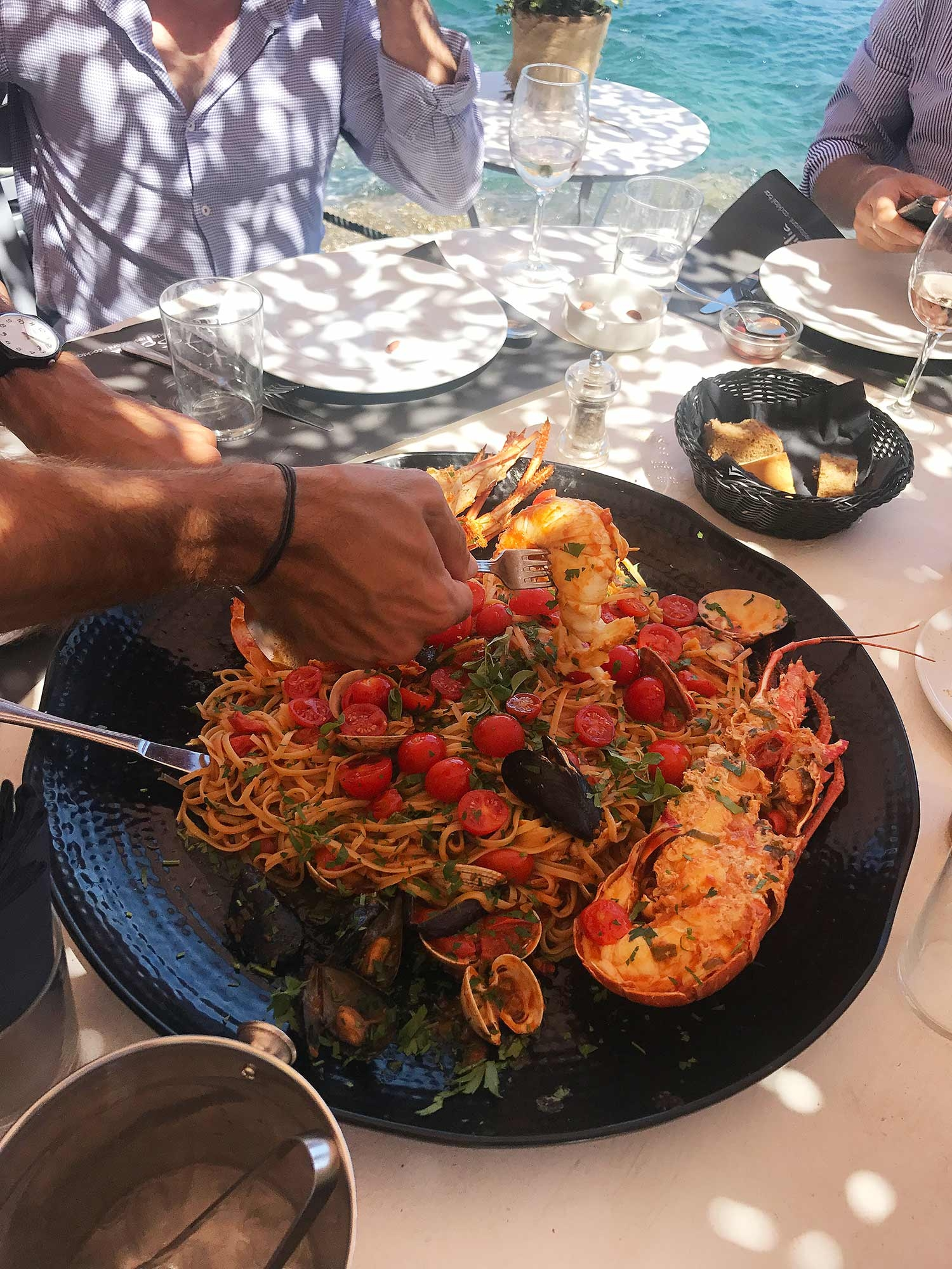 A large bowl of seafood pasta at our favourite restaurant, Spilia