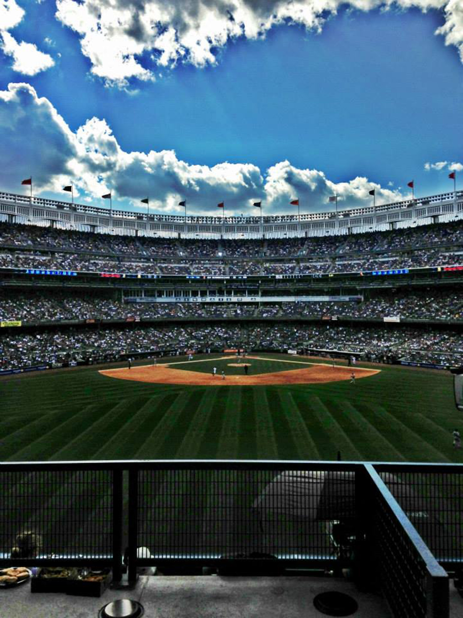 A baseball stadium full of spectators