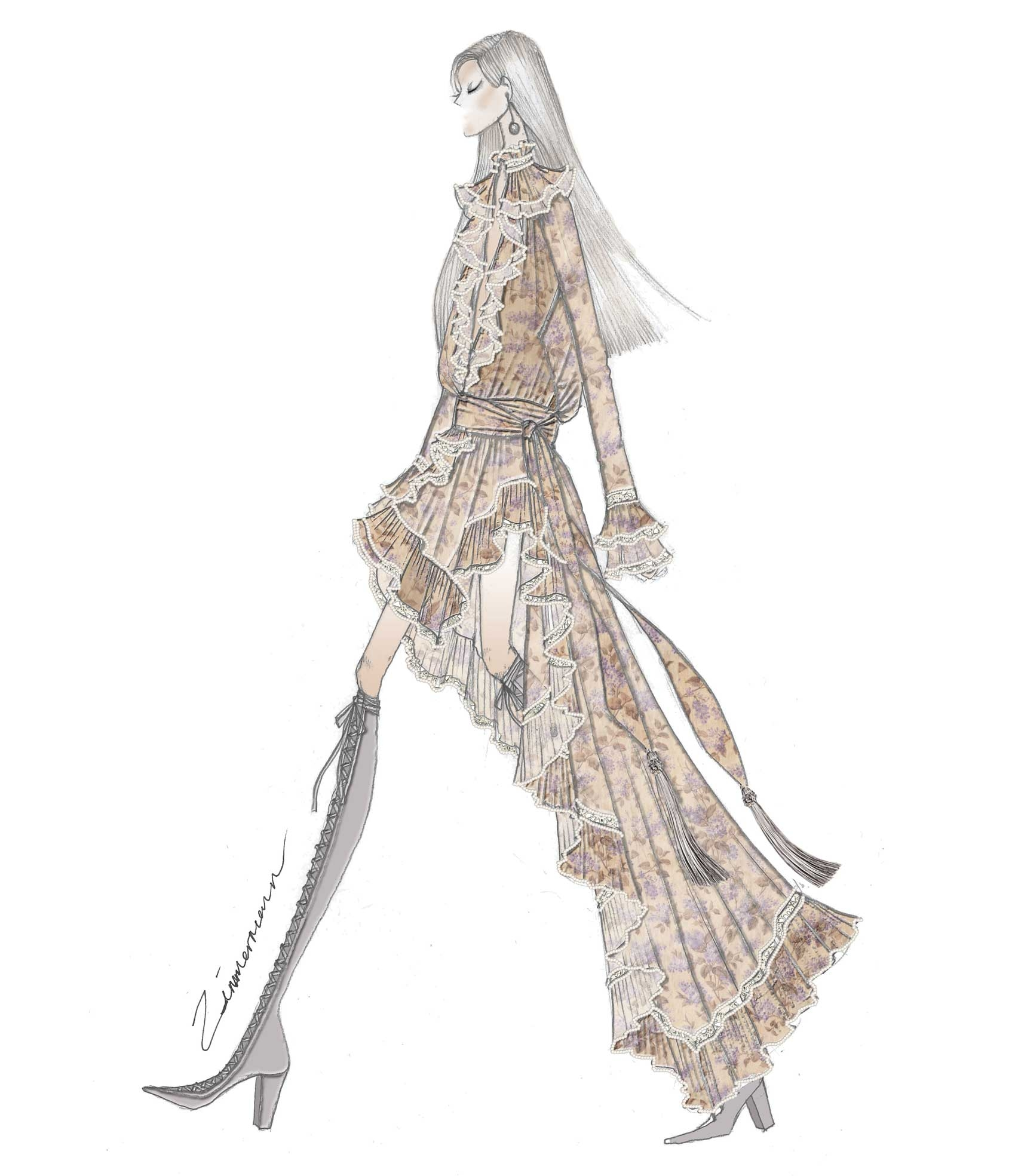 A sketch of a look from our Zimmermann x Bazaar in Bloom collection 2016
