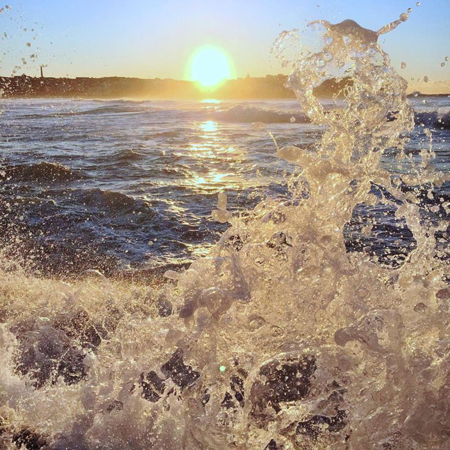 The waves splashing at Bondi on a cool winter morning