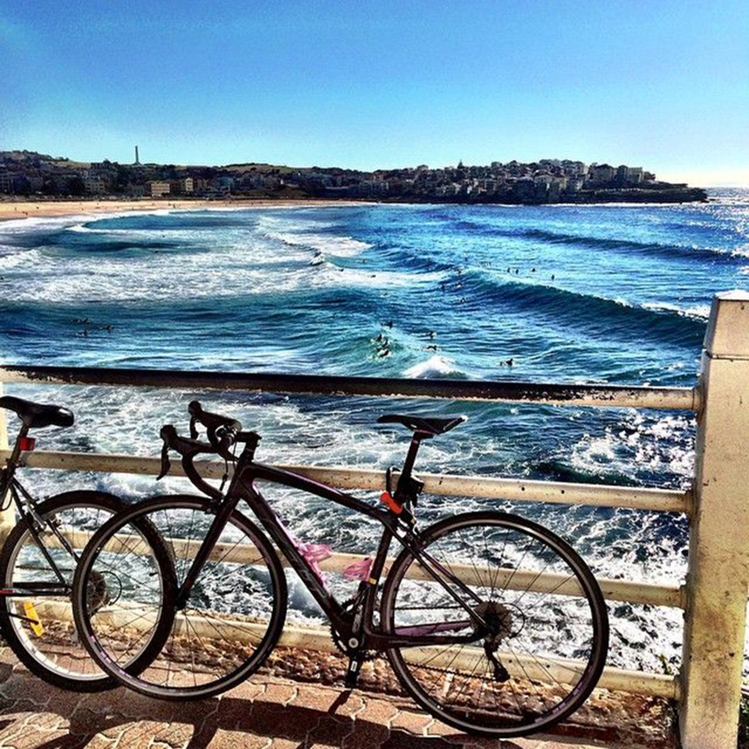 Bikes parked along the railings above Bondi Beach