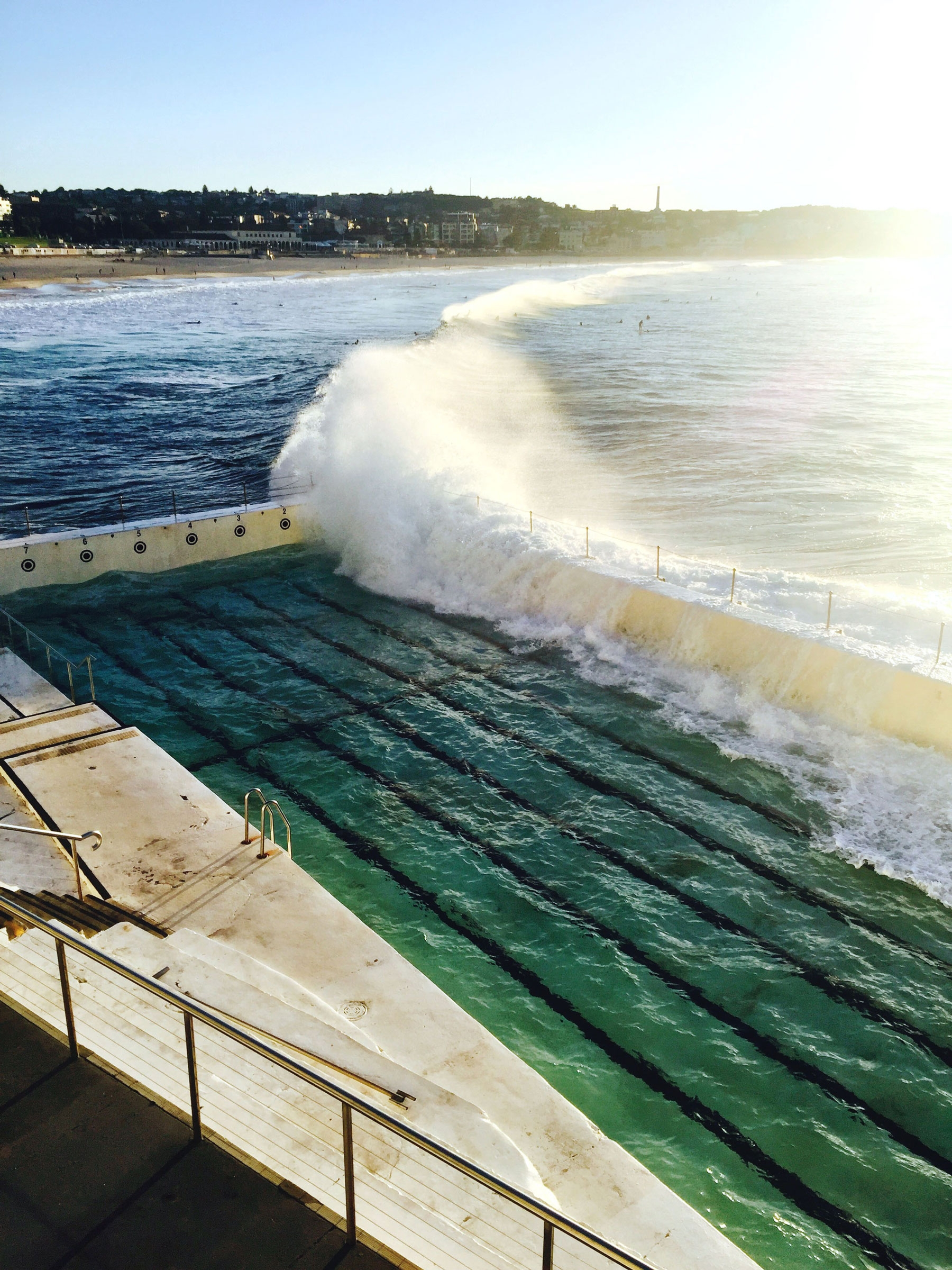 Waves crashing into the half full pool at Bondi Icebergs, April 2016