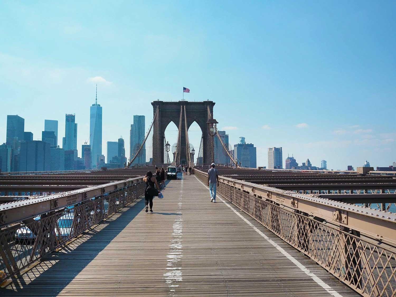 Walking along Brooklyn Bridge. June 2017