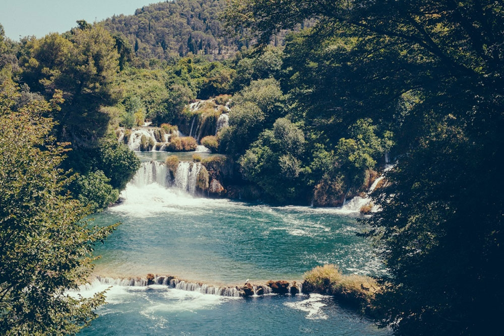 A small, calm waterfall in Krka National Park – Split