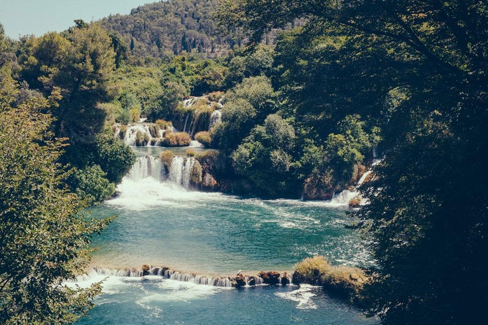 A small, calm waterfall in Krka National Park – Split