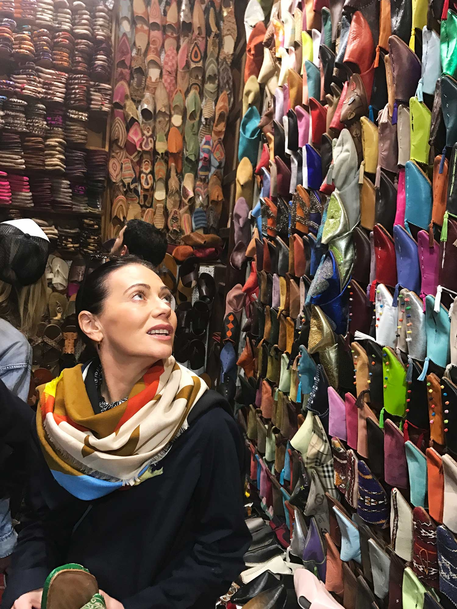 Nicky Zimmermann browsing the selection in the slipper souk
