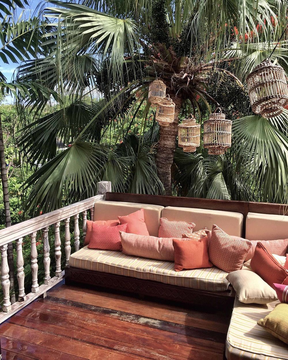 The balcony and outdoor couches at hotel, Cotton House