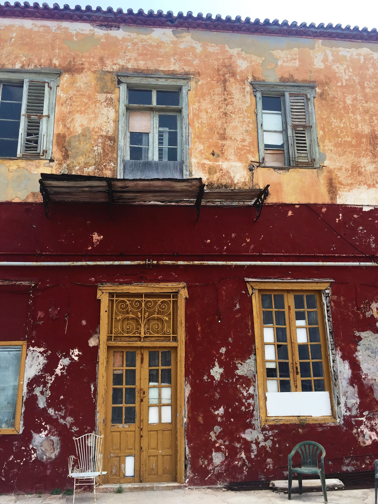 An old building with earthy colours and textures