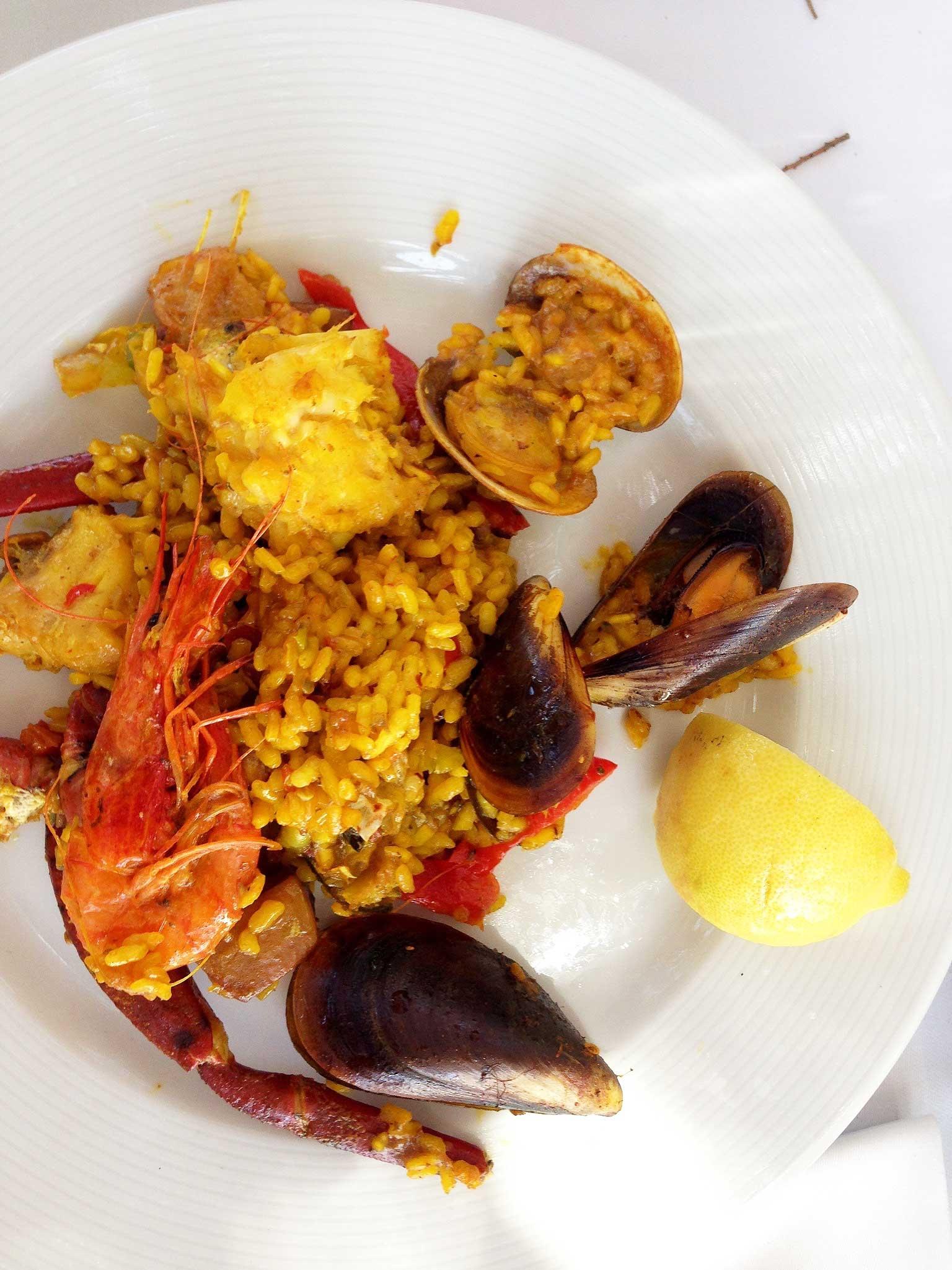 The seafood paella at restaurant, Es Torrent