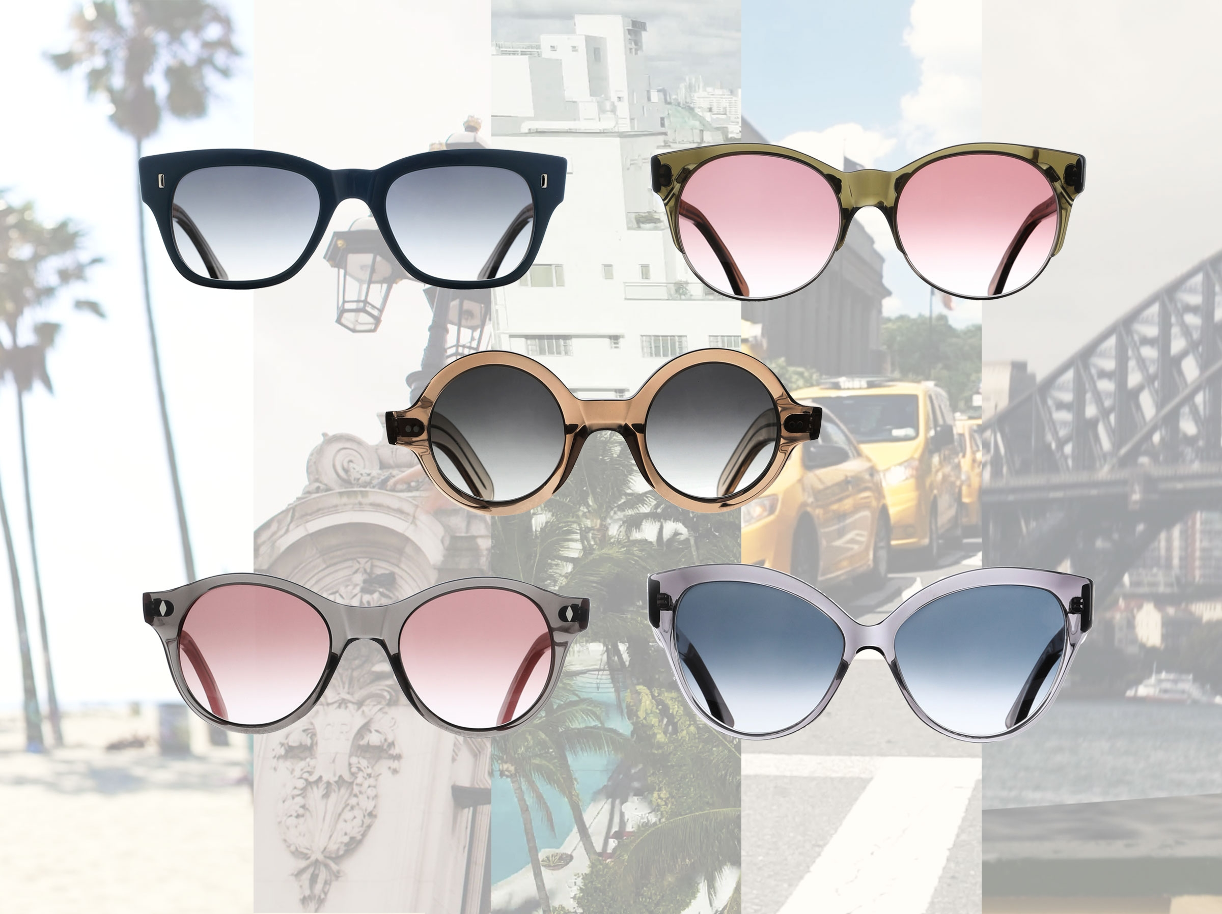 Five styles of Zimmermann x Cutler and Gross sunglasses