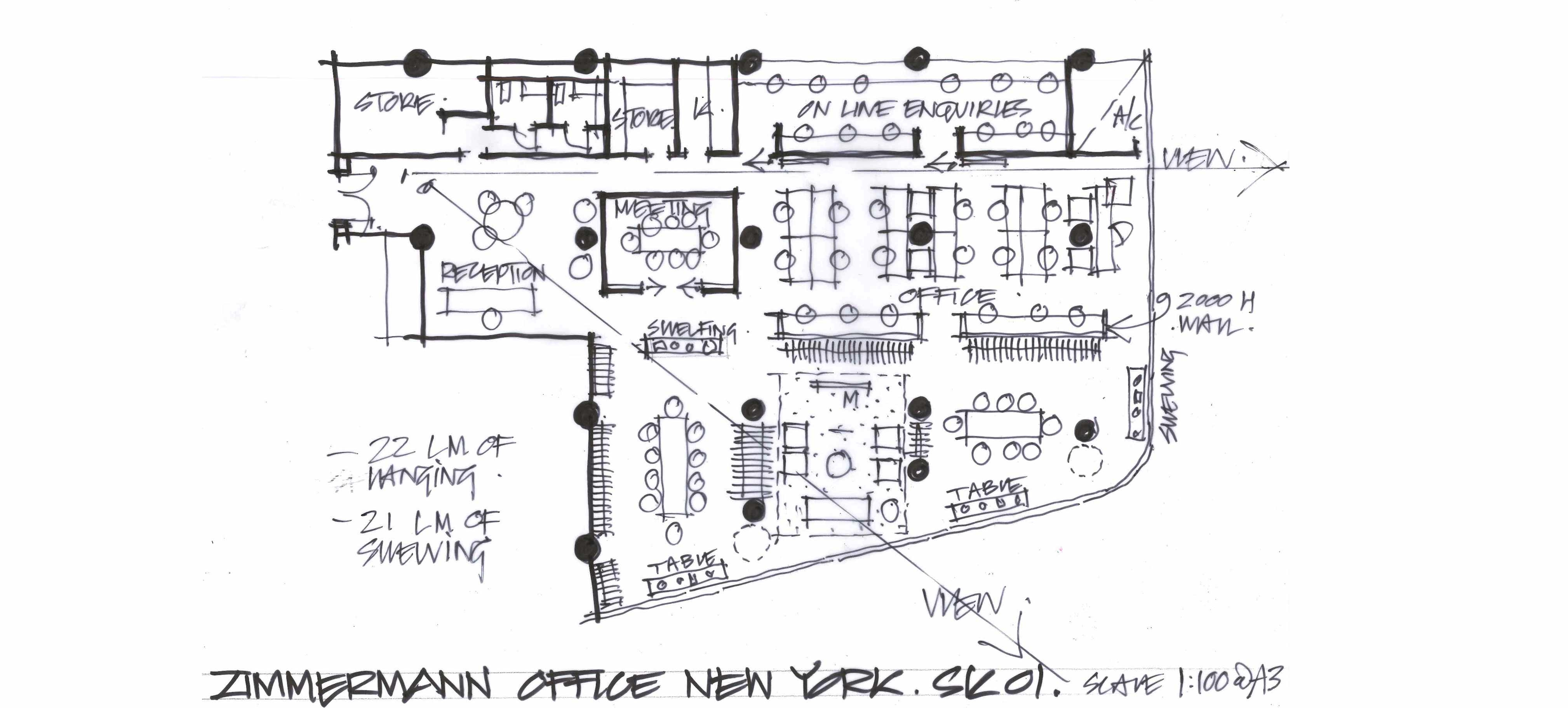 A sketch of our New York office's floor plan