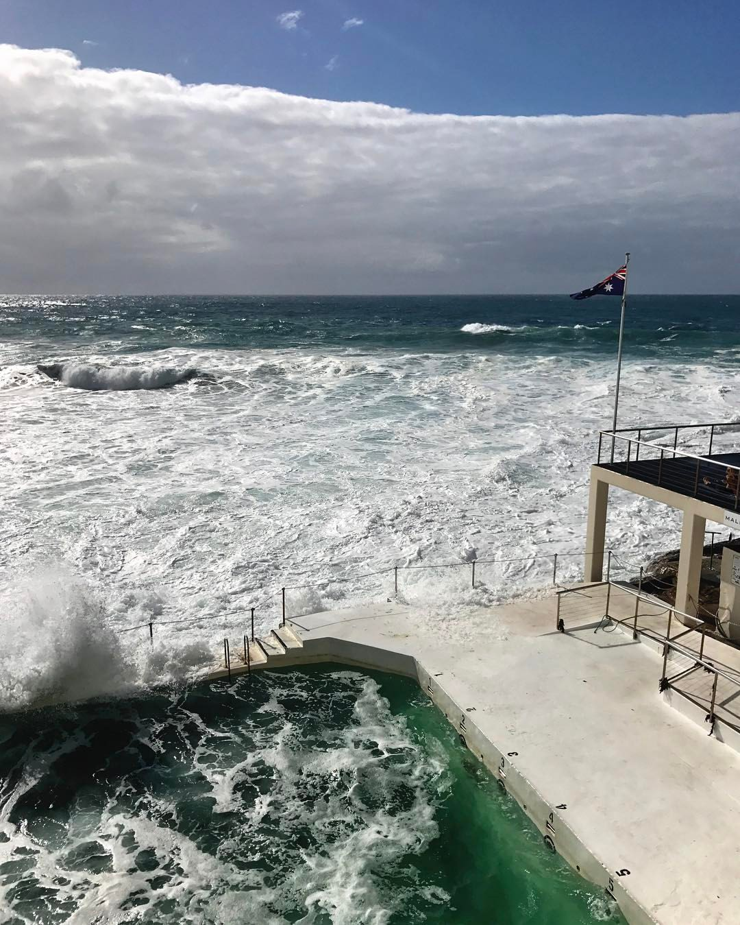 Sea foam over the ocean in April 2017