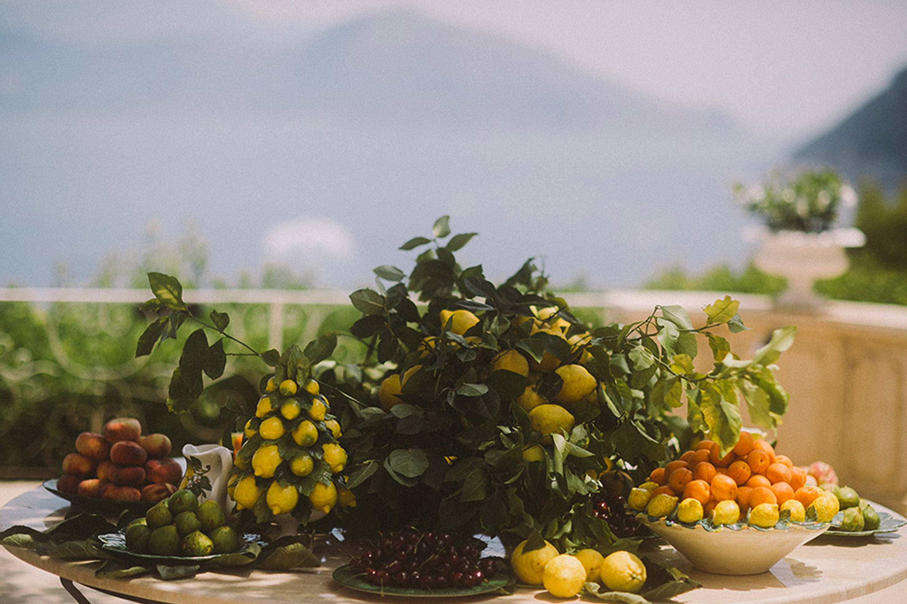 A table filled with citrus fruits, including lemons, oranges and limes, sits on the terrace of a villa surrounded by green foliage.