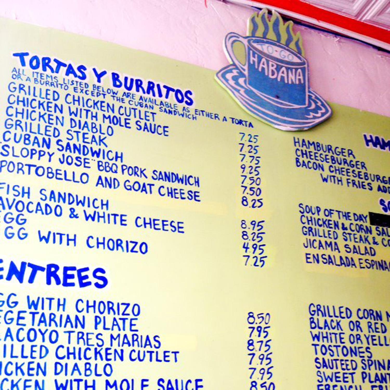 The colourful menu at Habana To-Go