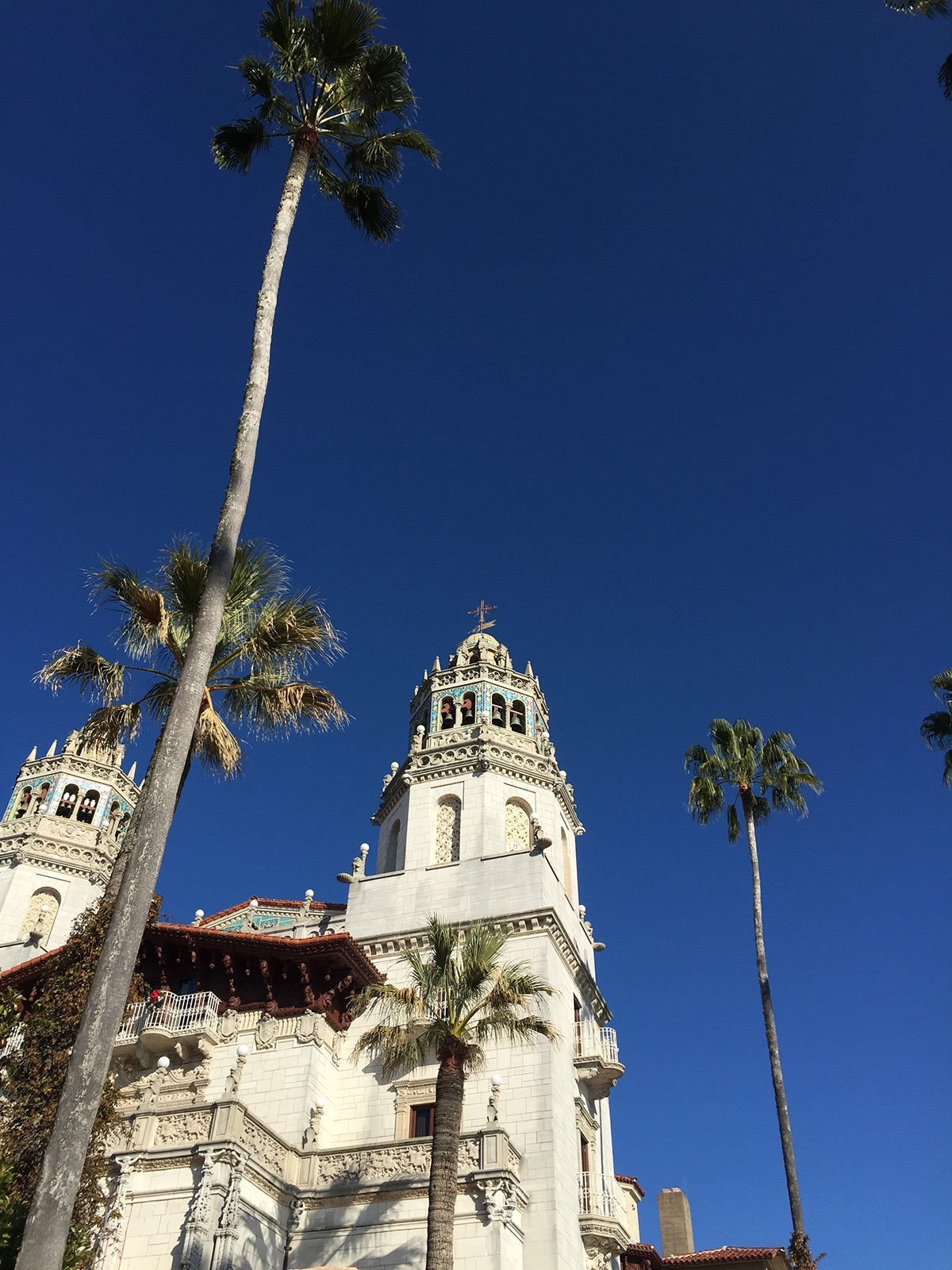 Tall, skinny palm trees stand outside the grand, white stone exterior of Heart Castle