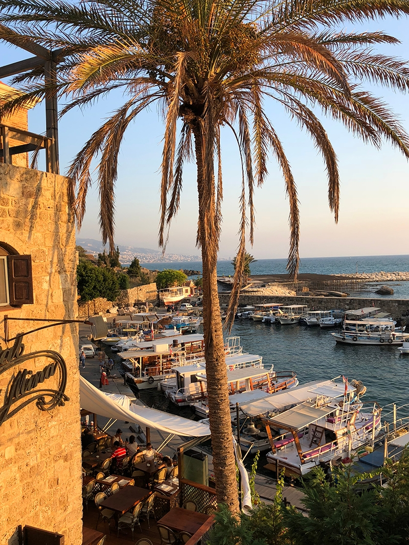 The harbour of Jbeil is filled with docked boats and lined with slim palm trees
