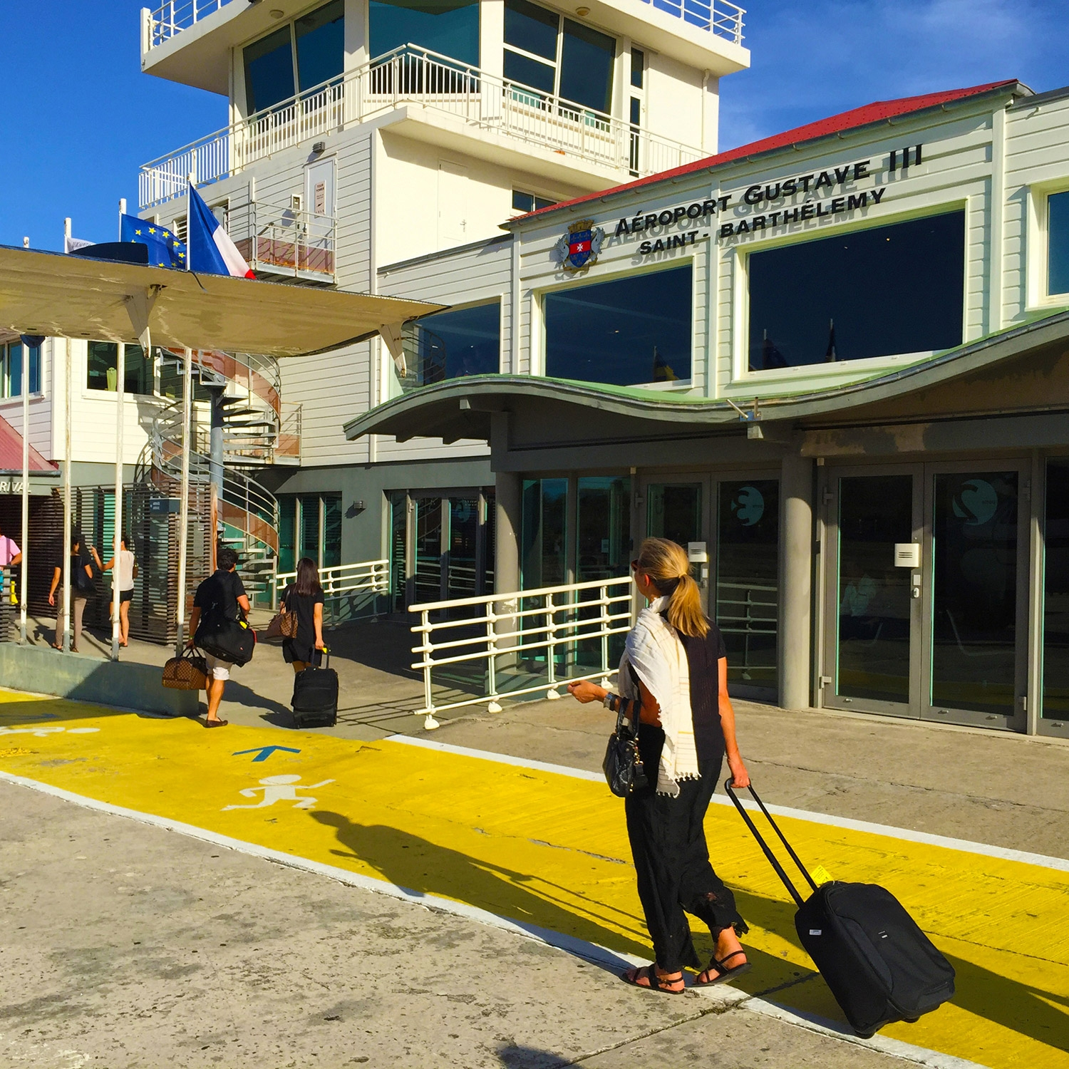The simple timber exterior of the St Barthelemy airport