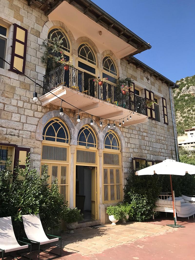 Beit Douma Villa – a large stone villa with pastel yellow doors, windows and finishings