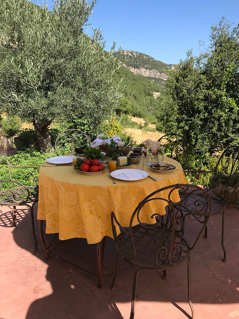 An outdoor lunch setting surrounded by bushland at Beit Douma Villa