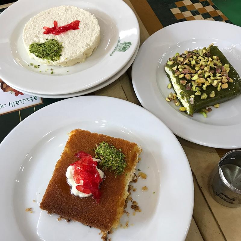 Traditional Lebanese desserts: Lebanese Rice Pudding, Kanafeh and Pistachio Mafroukeh