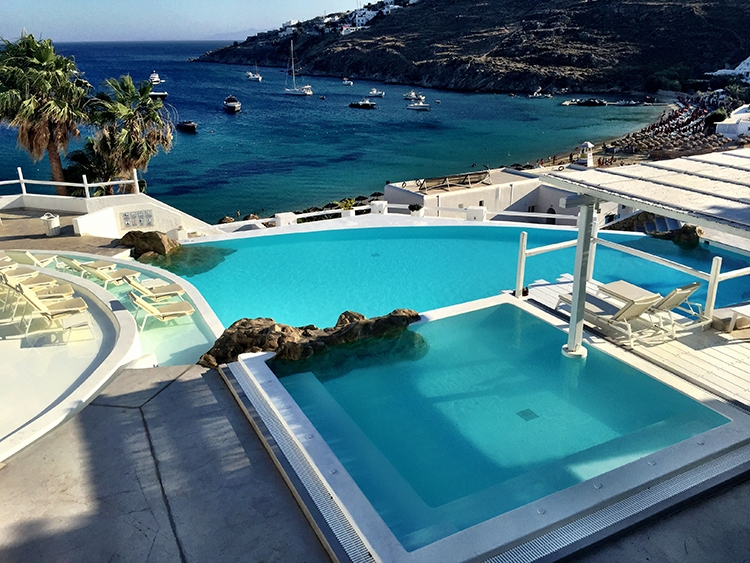 Different shades of blue from the pools, ocean and sky in Mykonos