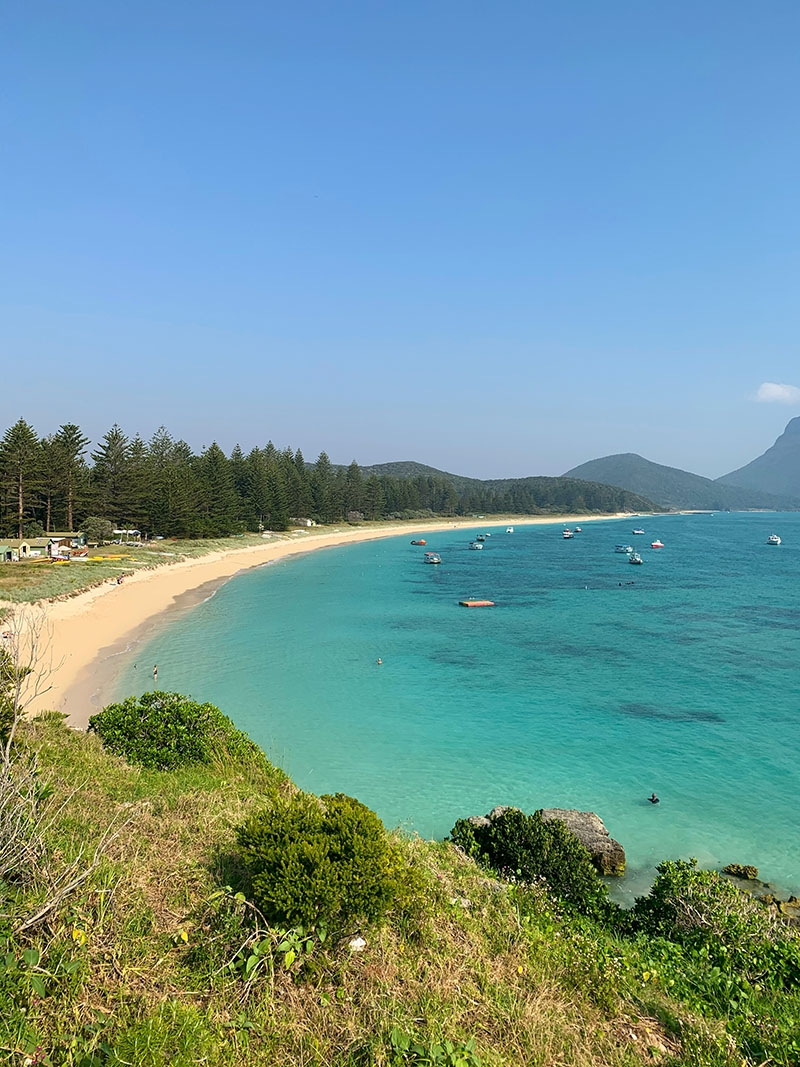 A view over the beach on Lord Howe Island, the location for our Summer Swim 20 campaign
