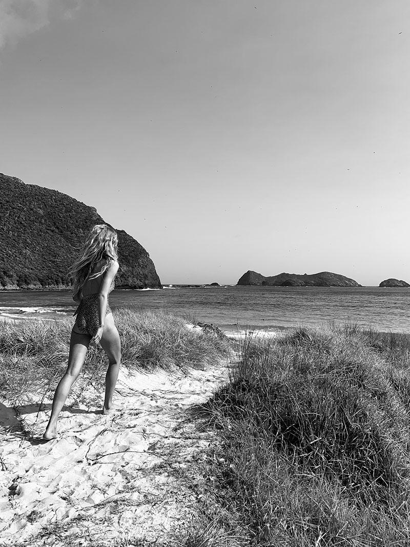 Olivia Vinten on the beach on Lord Howe Island, off the coast of Australia