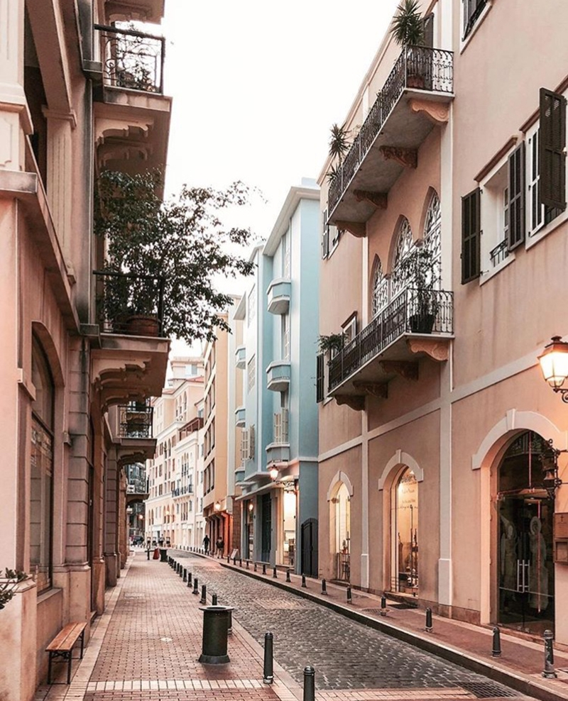 The picture-perfect streets of Saifi Village are lined with cobblestone pavements and buildings in pastel pink, blue and orange