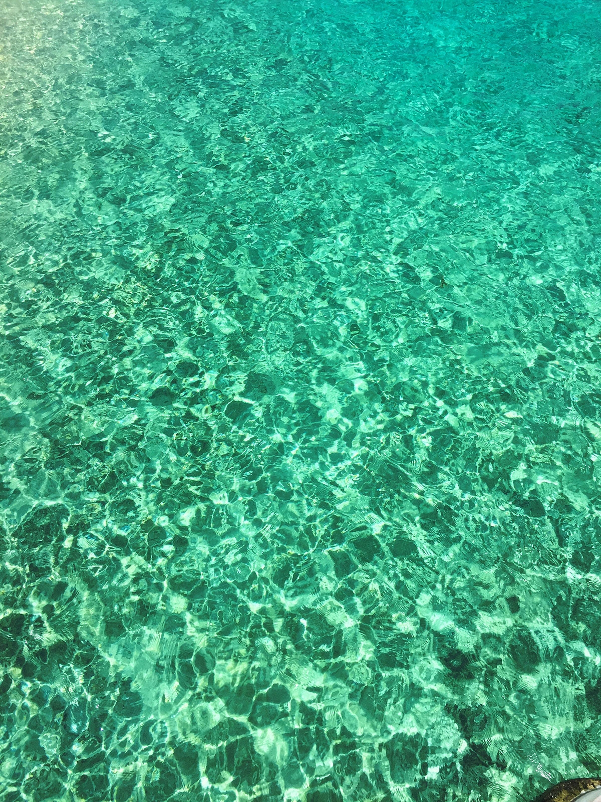 The clear turquoise water of the Bora Bora ocean