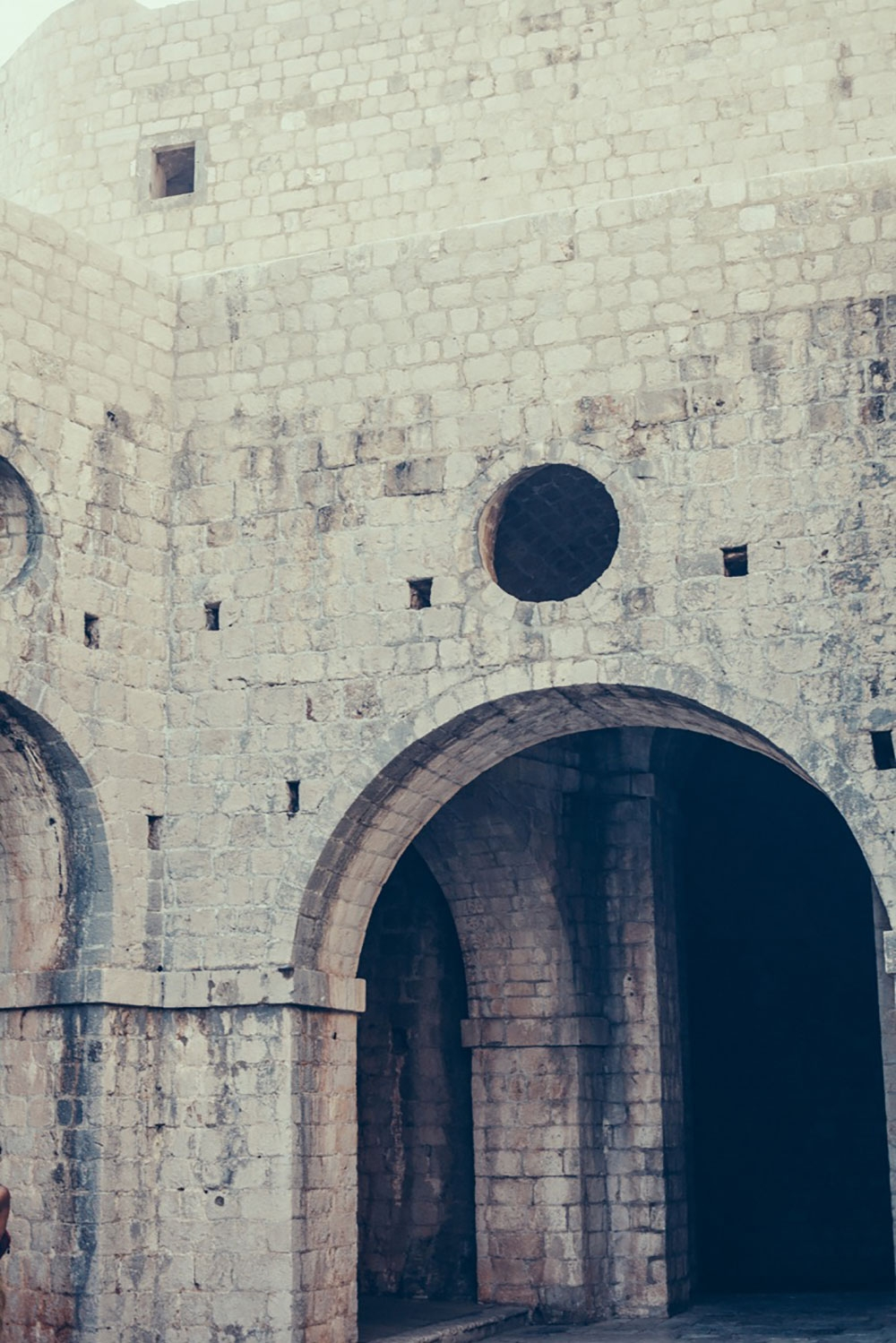 Large archways inside the brick walls of Lovrijenac – Dubrovnik